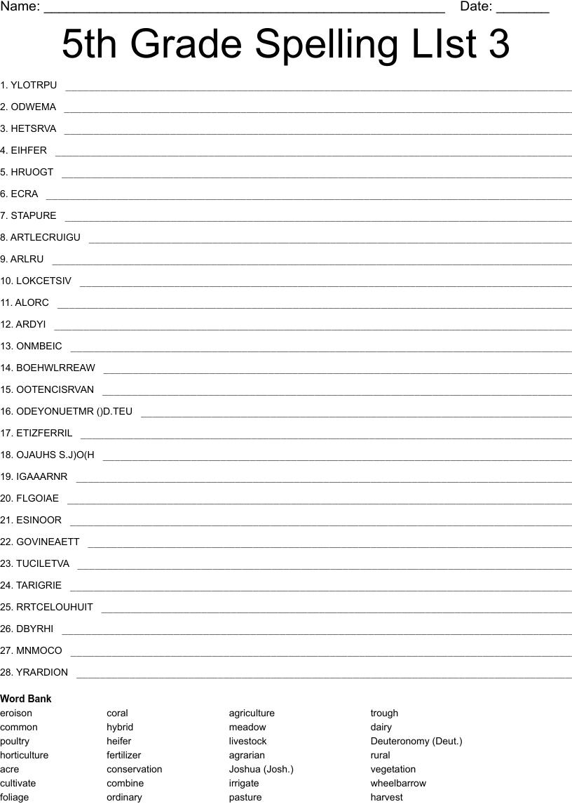 hight resolution of 5th Grade Spelling LIst 3 Word Scramble - WordMint