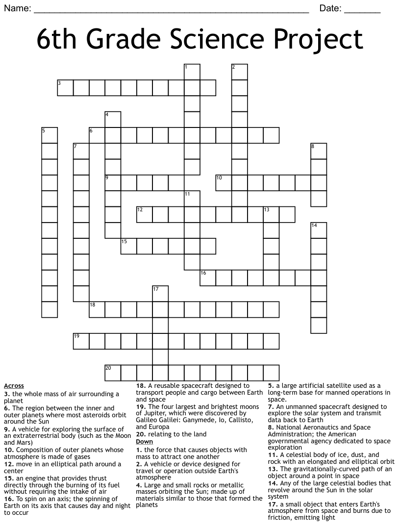 hight resolution of Astronomy Crosswords