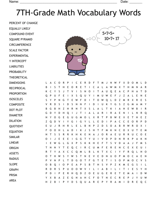 small resolution of 7TH-GRADE MATH VOCABULARY WORDS Word Search - WordMint