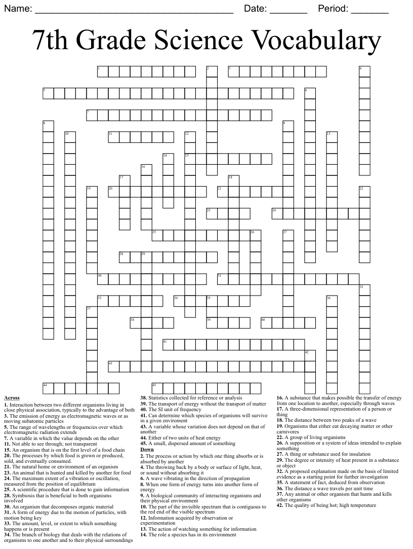 hight resolution of Similar to Science - Waves Crossword Puzzle - WordMint