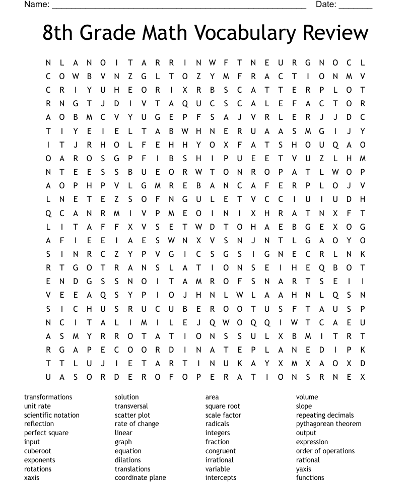 hight resolution of 8th Grade Math Word Search - WordMint
