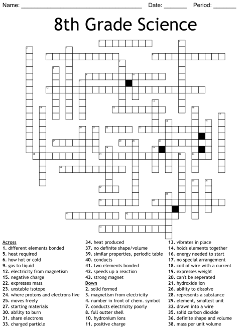 small resolution of 8th Grade Science Crossword - WordMint