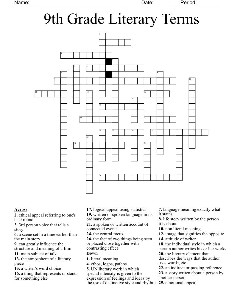 hight resolution of 9th Grade Literary Terms Crossword - WordMint