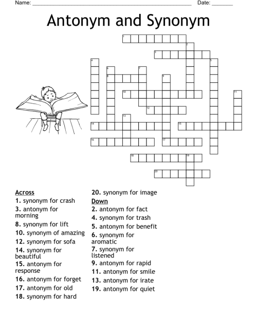 small resolution of Synonyms and Antonyms Crossword - WordMint