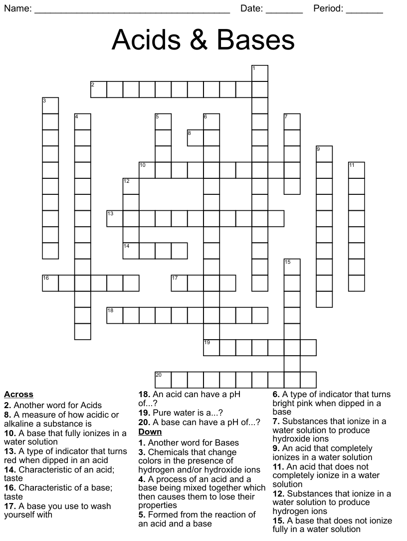 hight resolution of Acids and Bases Crossword - WordMint