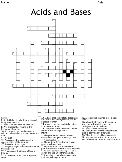 small resolution of Acids and Bases Crossword - WordMint