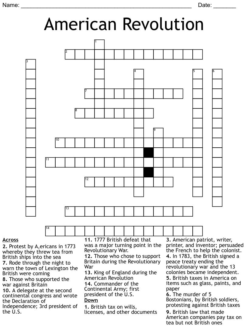 hight resolution of Revolutionary War Crossword Puzzle - WordMint