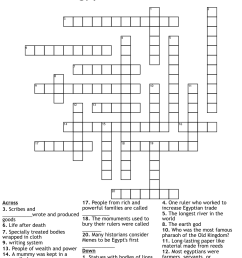 Ancient Egypt Crossword Puzzle - WordMint [ 1111 x 1121 Pixel ]