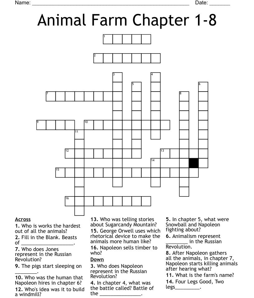 Animal Farm Chapter 1-8 Crossword - WordMint