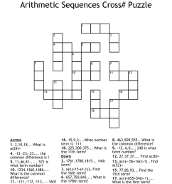Arithmetic Sequences Cross# Puzzle Crossword - WordMint [ 1052 x 1121 Pixel ]