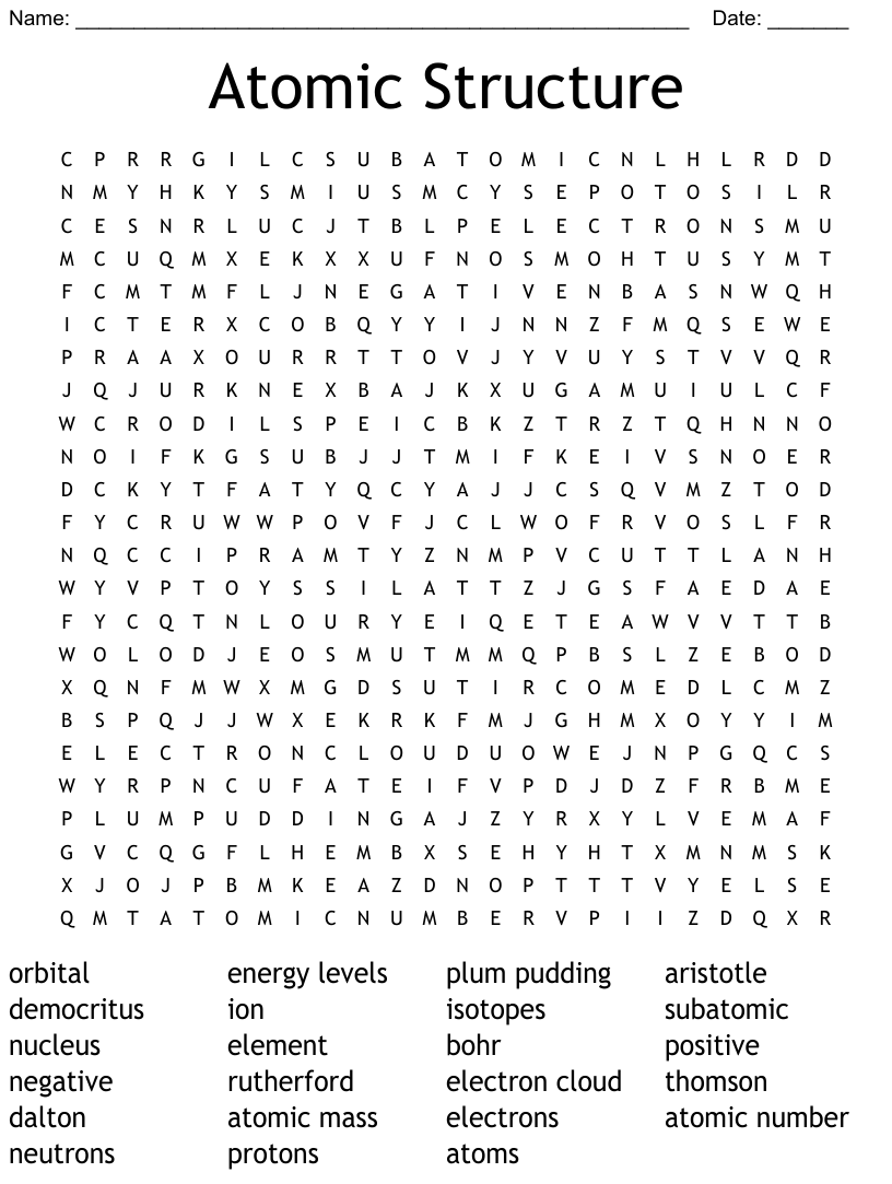medium resolution of atoms and molecules Word Search - WordMint