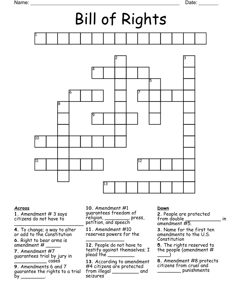 hight resolution of Bill of rights crossword puzzle - WordMint