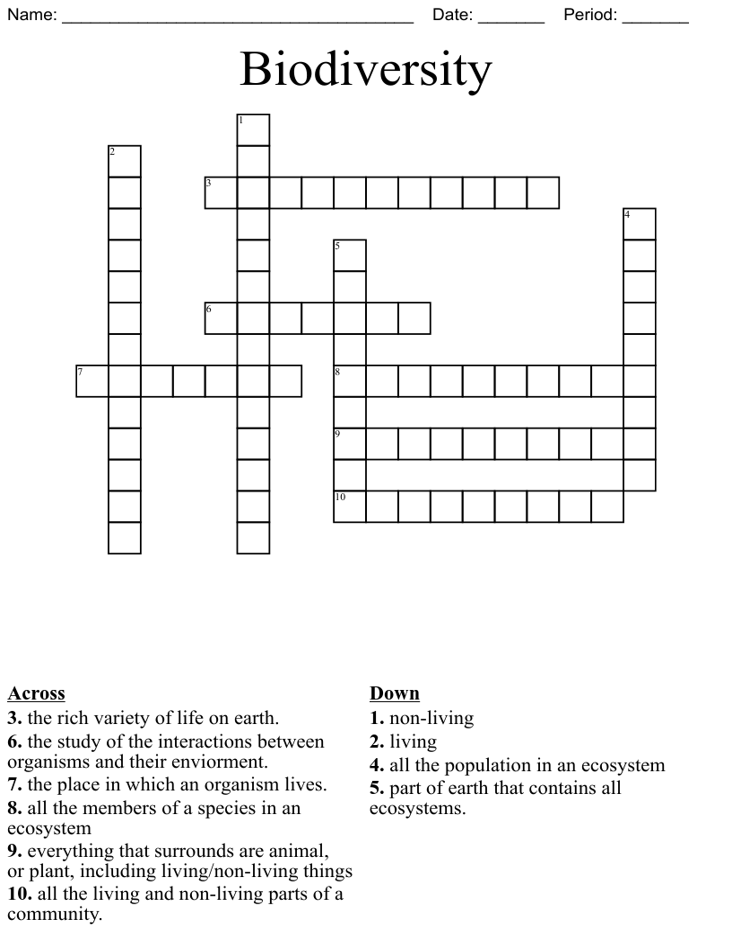 medium resolution of Ecology \u0026 Environment Crosswords