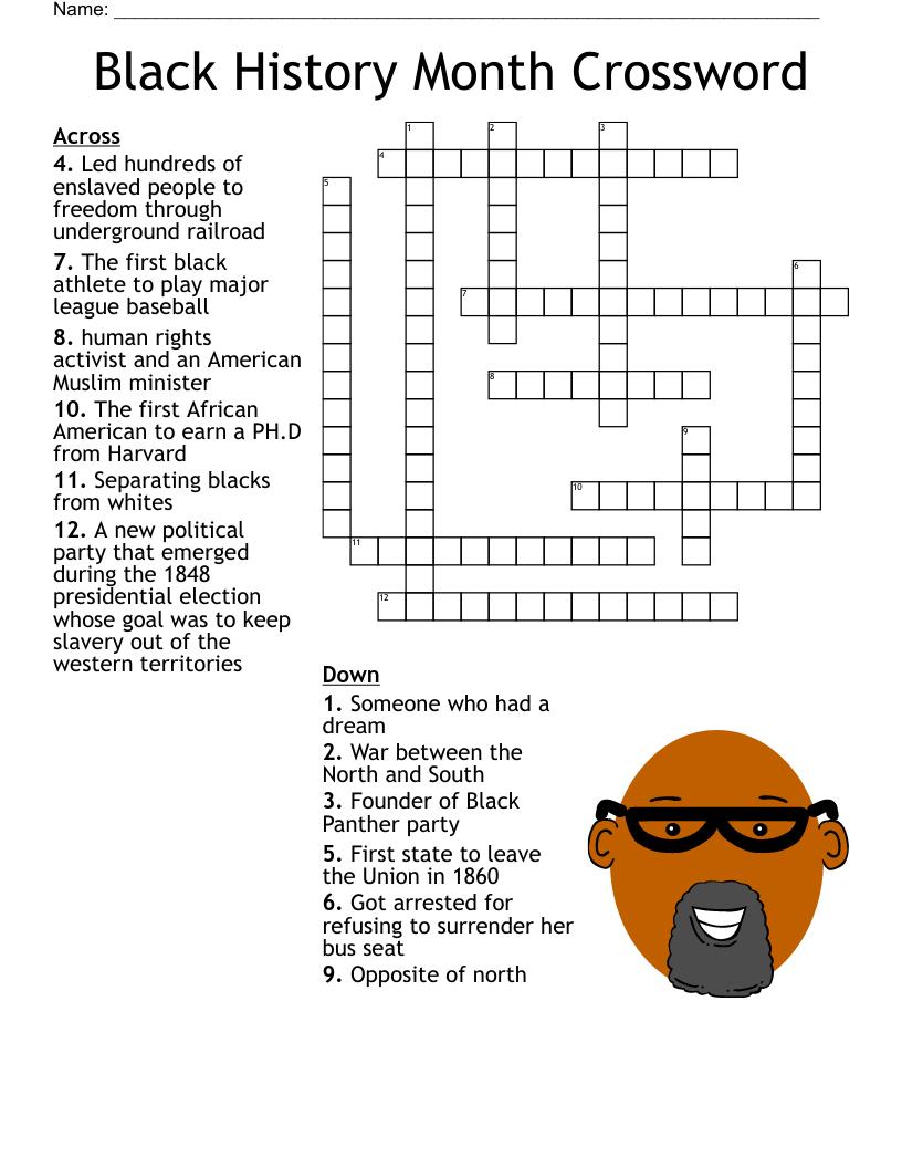 hight resolution of Black History Month Crossword - WordMint