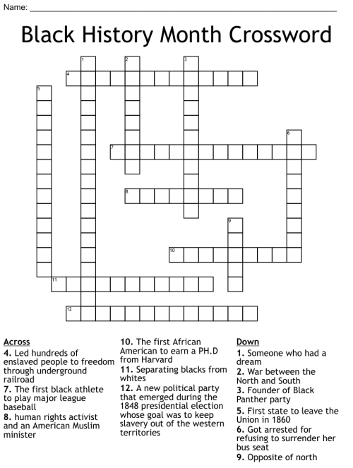 small resolution of Black History Month Crossword - WordMint
