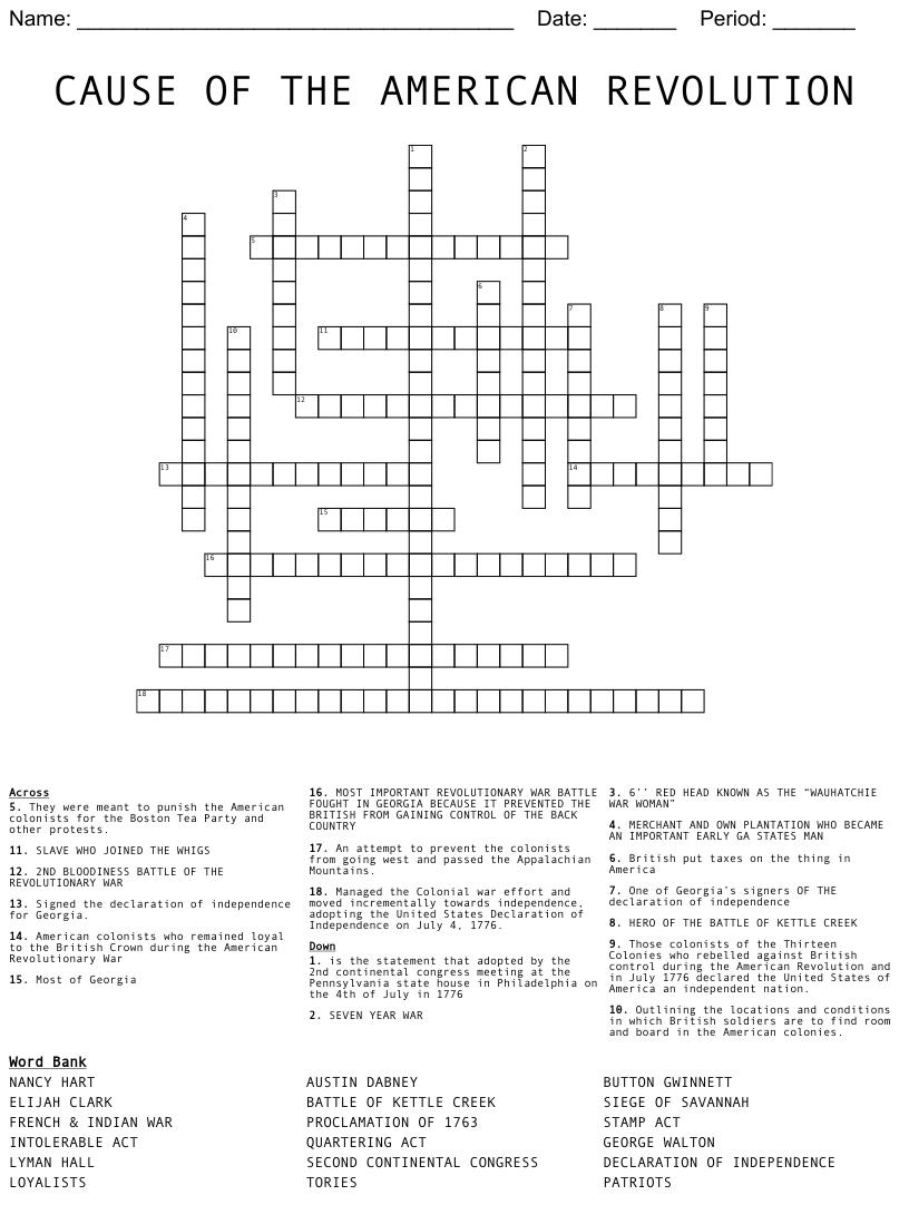 hight resolution of American Revolution Crossword Puzzle - WordMint