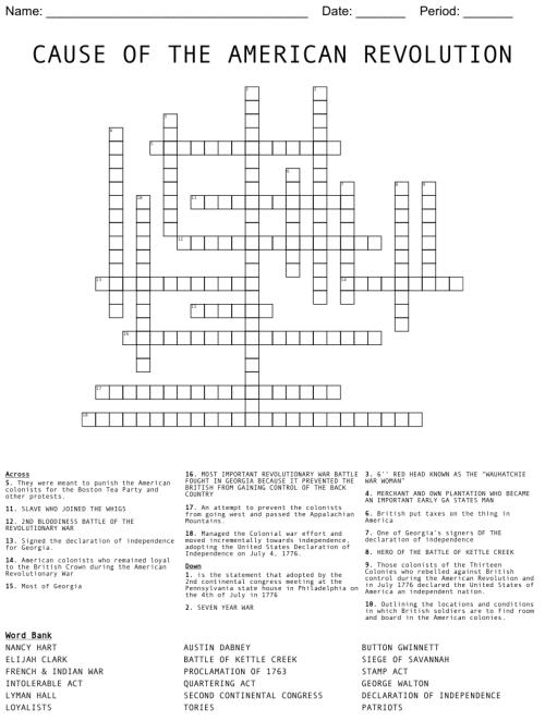 small resolution of American Revolution Crossword Puzzle - WordMint