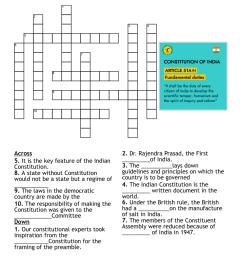 CLASS 8 The Constitution of India Crossword - WordMint [ 1084 x 1121 Pixel ]