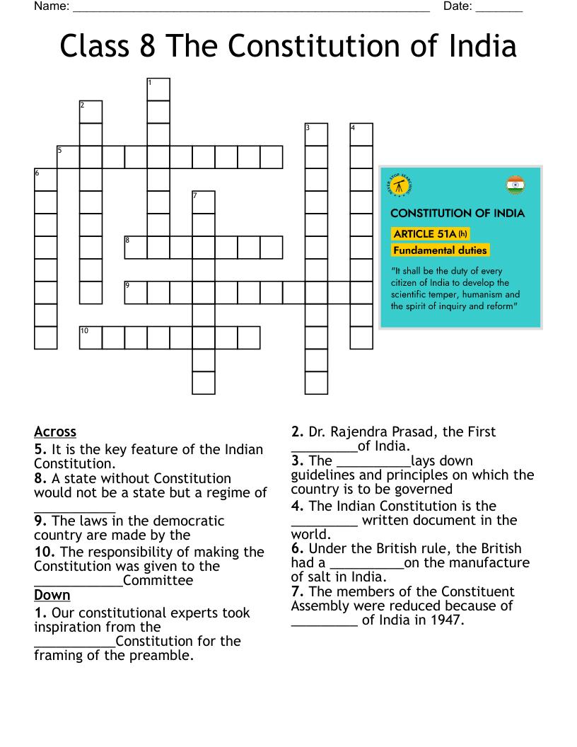 medium resolution of CLASS 8 The Constitution of India Crossword - WordMint