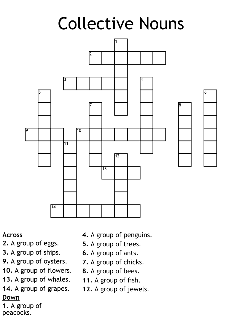 hight resolution of COLLECTIVE NOUNS Crossword - WordMint