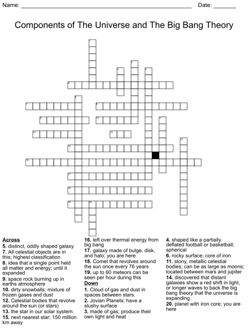 small resolution of Components of The Universe and the Big Bang Theory Crossword - WordMint
