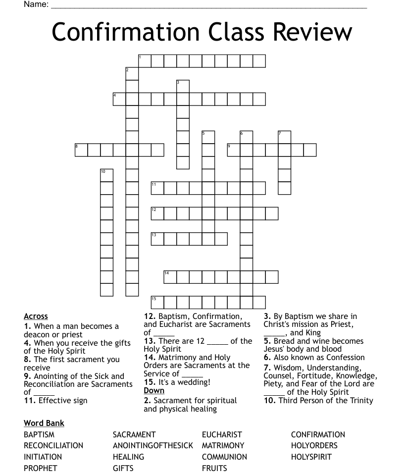 hight resolution of Gifts of the Holy Spirit Crossword - WordMint