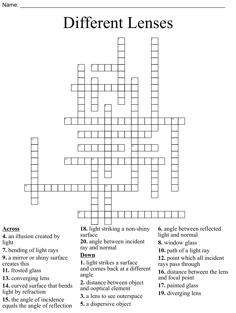 hight resolution of Light Crossword - WordMint