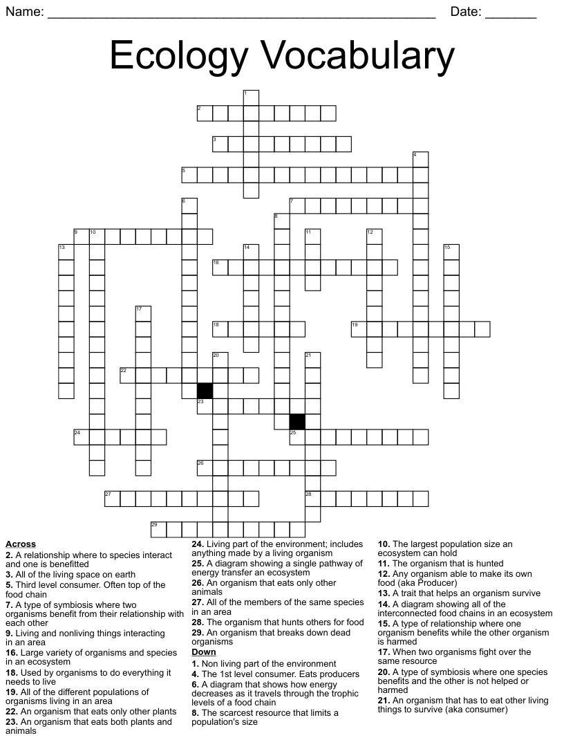medium resolution of Ecosystems Crossword - WordMint