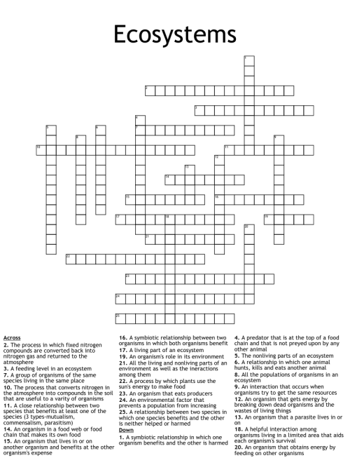 small resolution of Ecosystems Crossword - WordMint