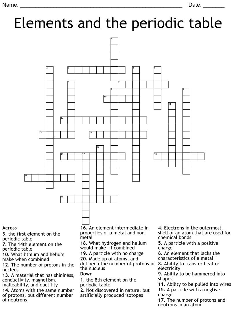 hight resolution of 8th Grade Science Crossword - WordMint