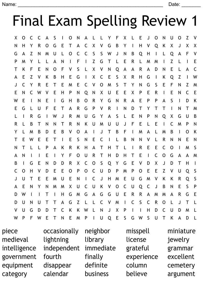 hight resolution of 10th grade list 9 Word Search - WordMint