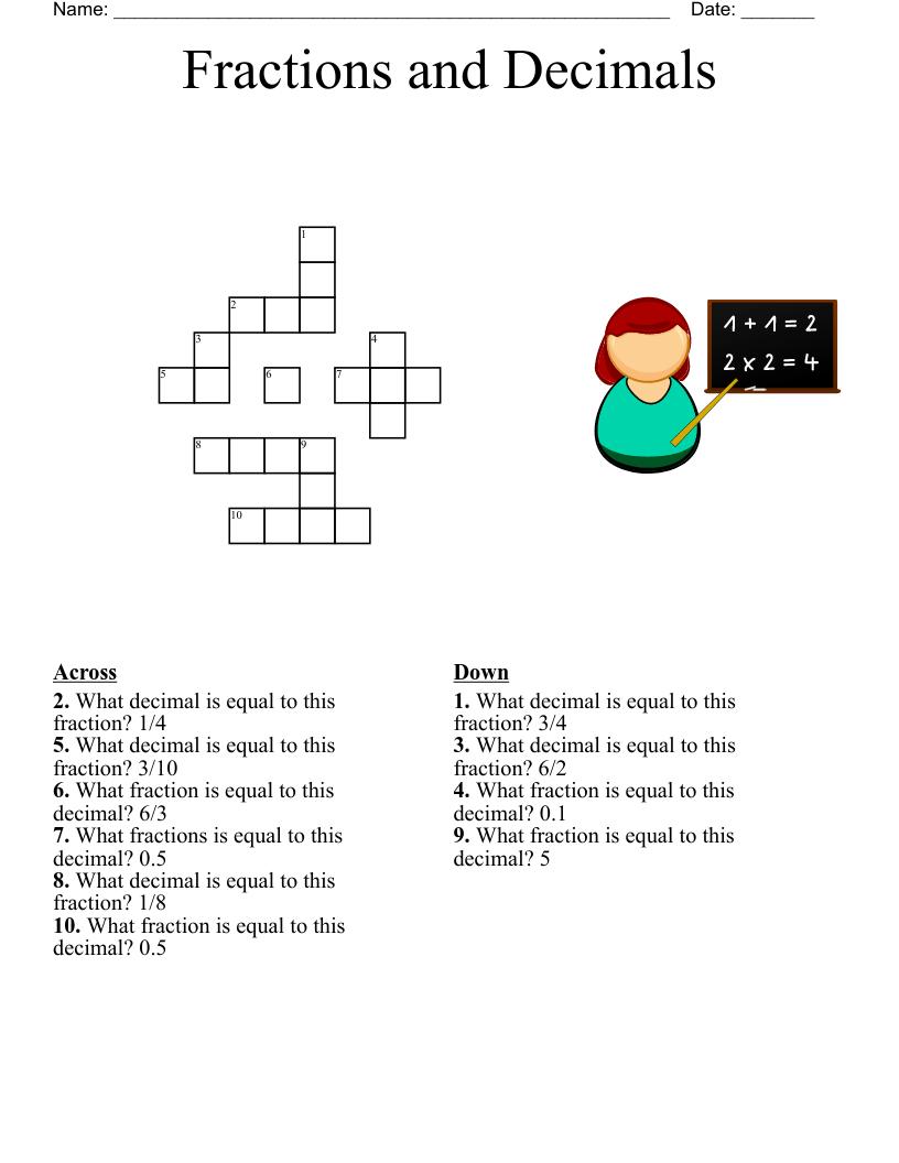 hight resolution of Maths Fractions/Decimals/Percentages Crossword - WordMint