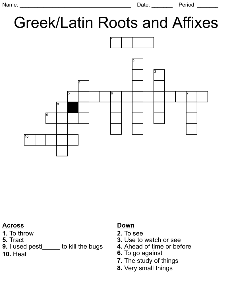 hight resolution of Greek/Latin Roots and Affixes Crossword - WordMint
