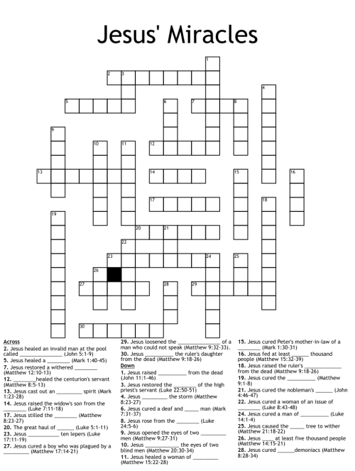 small resolution of Mark 10:46-52 Crossword - WordMint