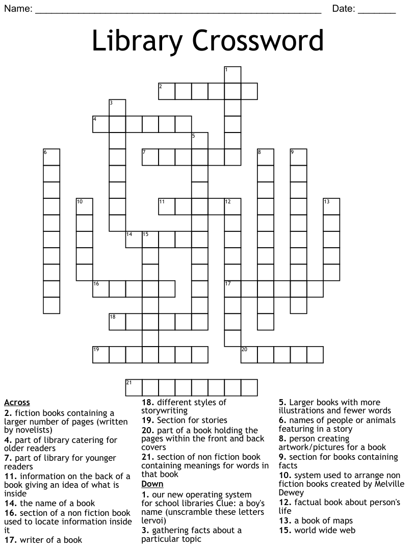 hight resolution of Library Terms Word Search - WordMint