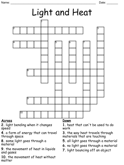 small resolution of Similar to 5th grade--Chapter 3 LIGHT Crossword - WordMint