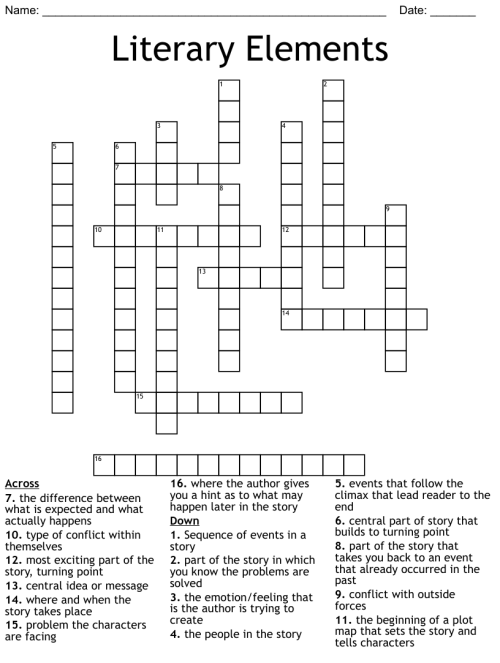 small resolution of Literary Terms Crossword - WordMint