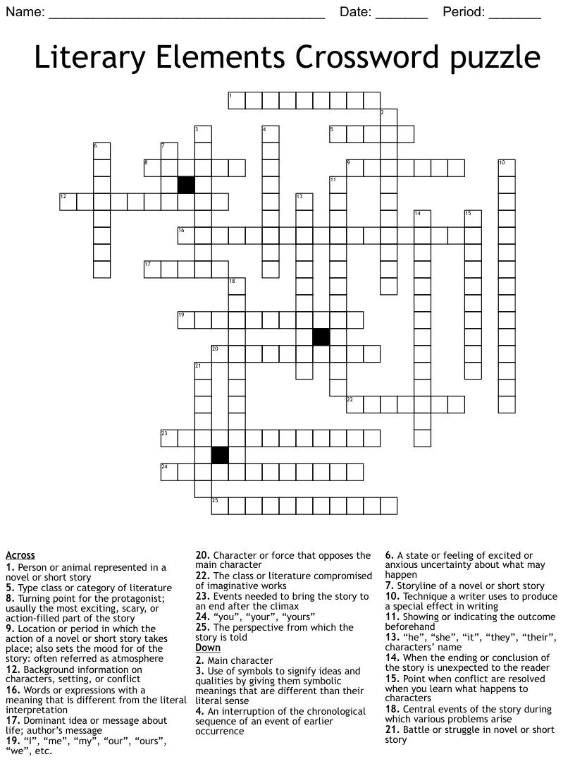 medium resolution of Literary Terms Crossword - WordMint