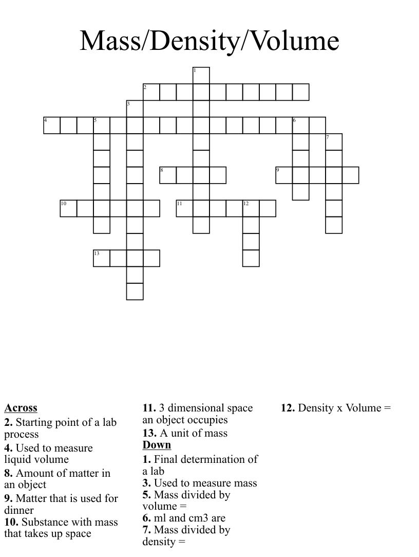 medium resolution of Mass Volume Density Crossword - WordMint