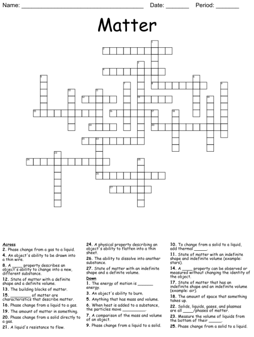 small resolution of Science Chapter 3 Vocabulary Crossword - WordMint