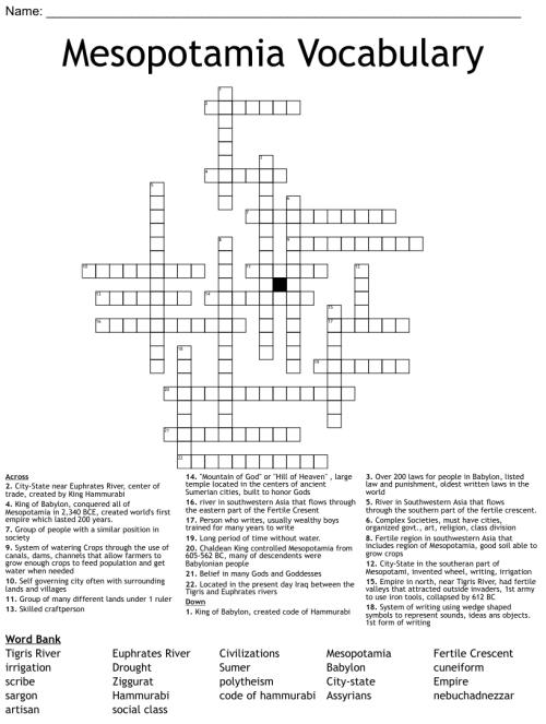 small resolution of Ancient Mesopotamia Crossword - WordMint