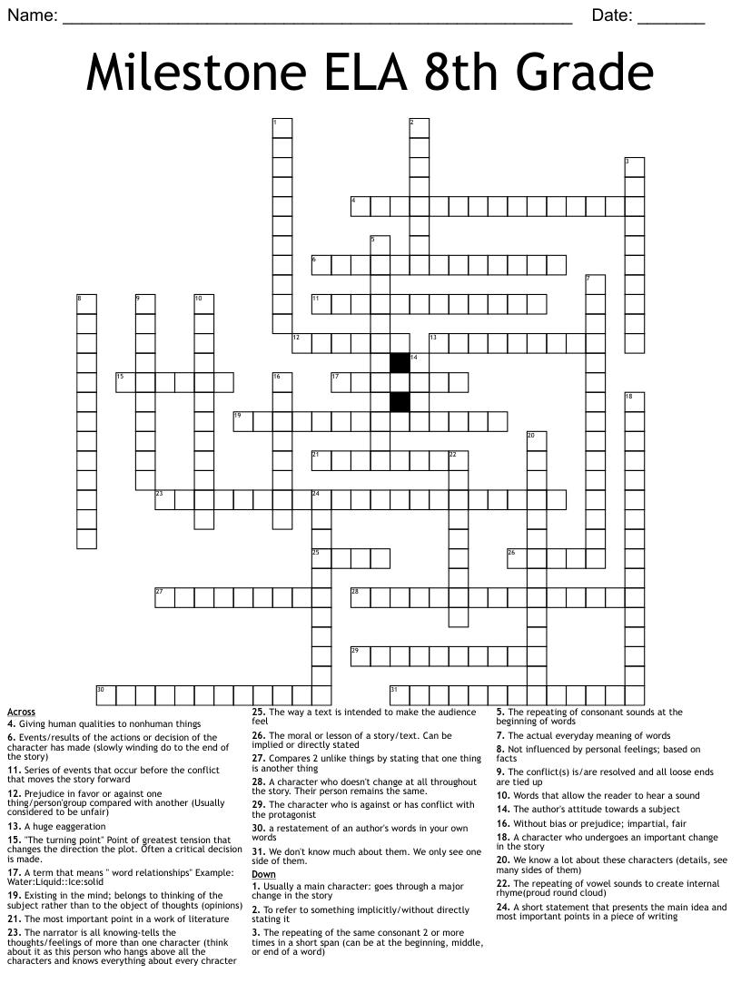 hight resolution of Milestone ELA 8th Grade Crossword - WordMint