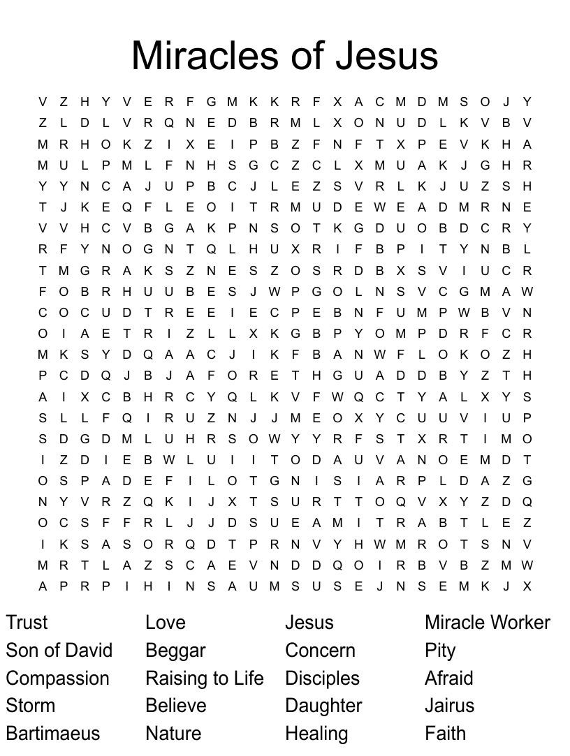 medium resolution of Similar to Jesus Heals the Leper Word Search - WordMint