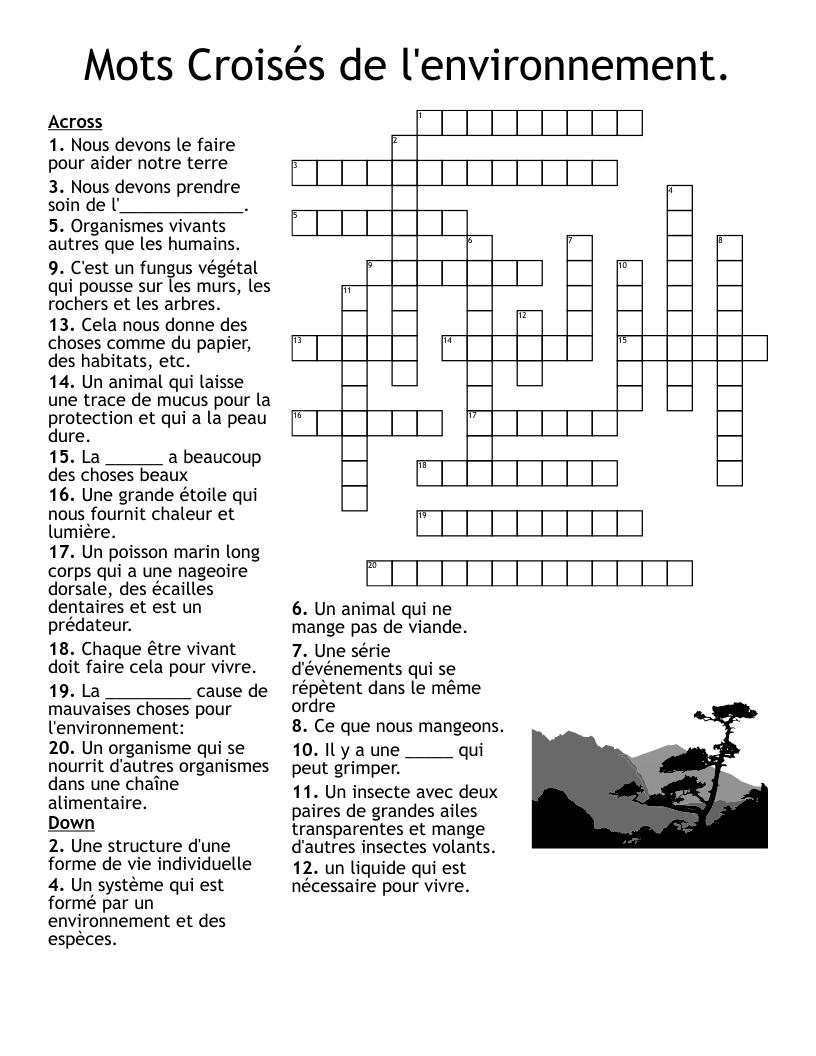 environnement crossword