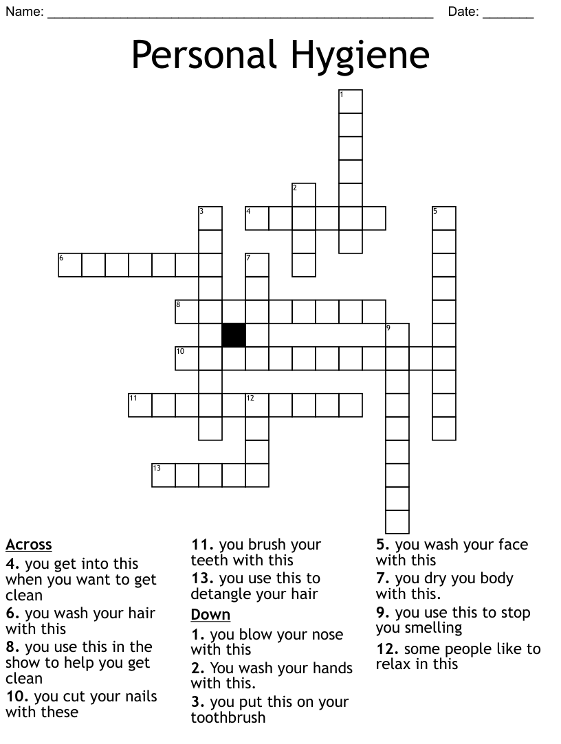 hight resolution of Personal Hygiene Crossword - WordMint