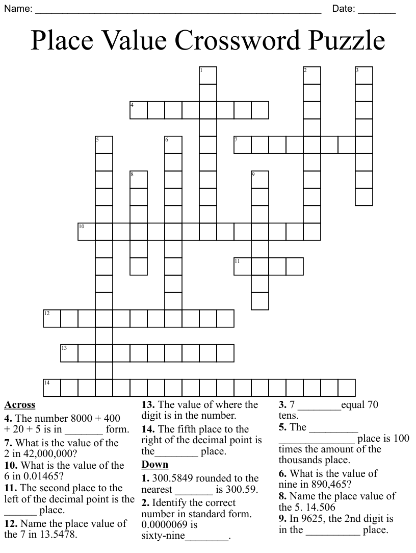 hight resolution of Place Value Crossword Puzzle - WordMint