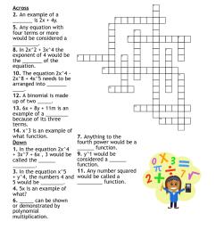 Polynomials Crossword - WordMint [ 1111 x 1121 Pixel ]