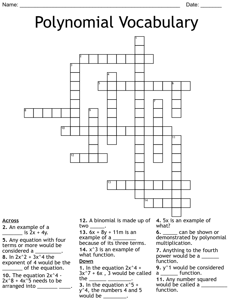 medium resolution of Polynomials Crossword - WordMint