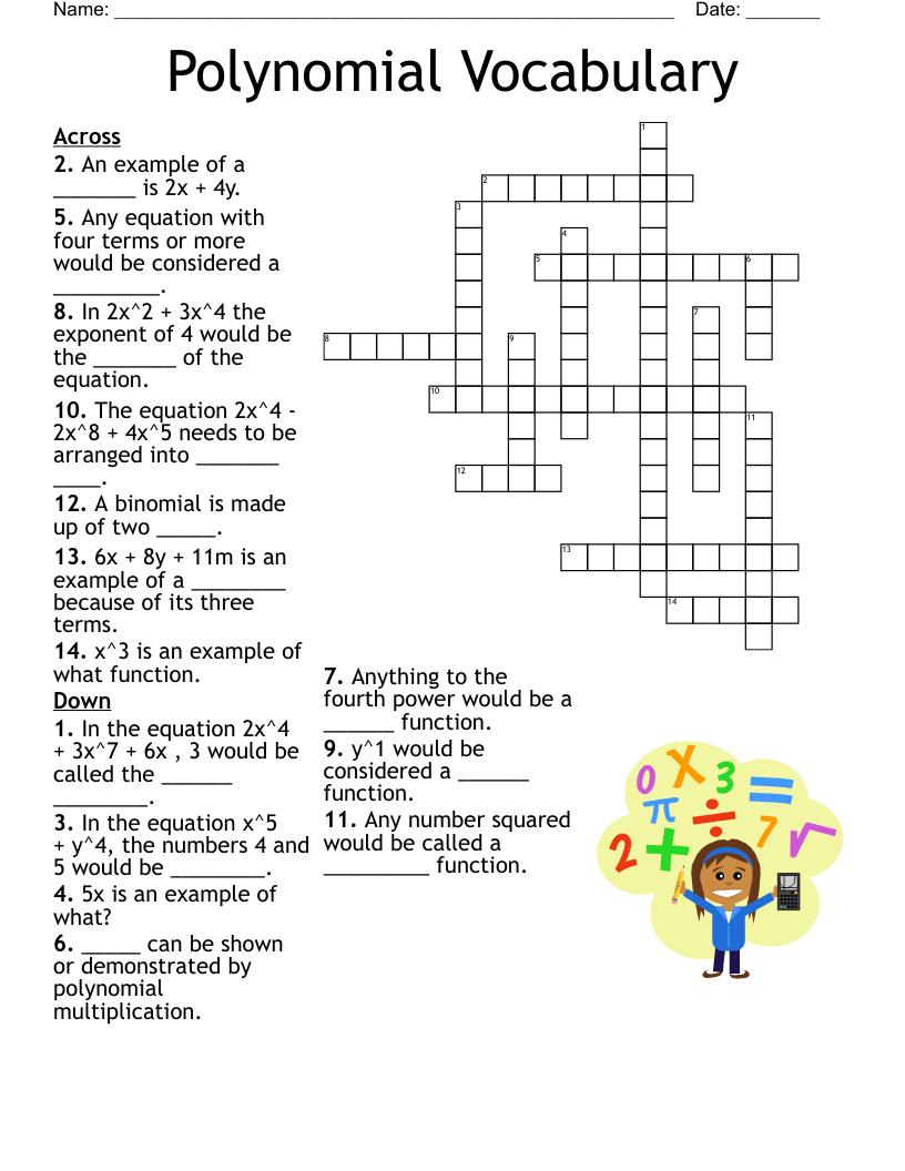 hight resolution of Polynomials Crossword - WordMint