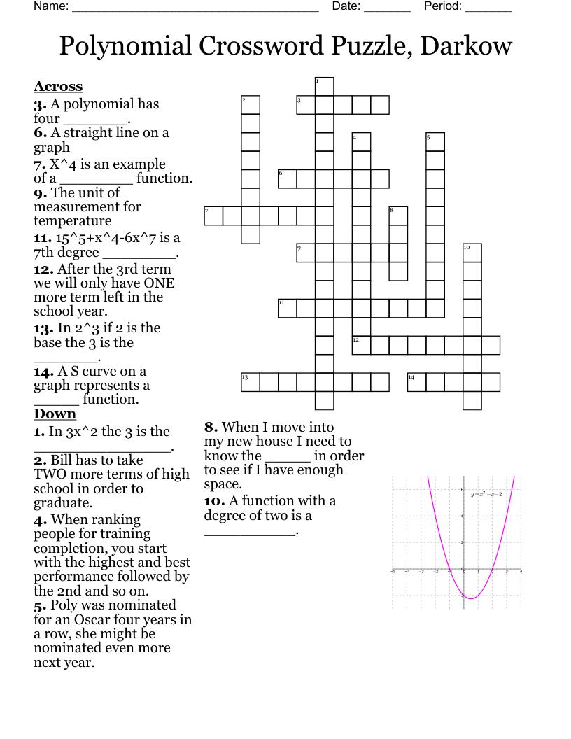 medium resolution of Polynomial crossword puzzle